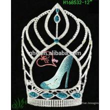 2015 Nueva tiara de la corona del desfile alto barato del rhinestone