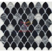 Black Glazed Ceramic Mix Grey Marble Mosaic (BK002)