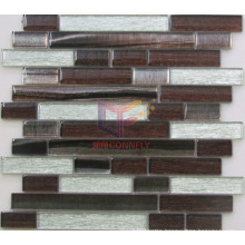 Silver Silk Backed Glass with Lines Pattern Crystal Mosaic Tile