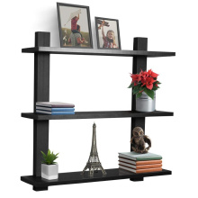3 Tier Black Floating Shelf Asymmetric Square Wall Shelf Decorative Hanging Display Wall Mounted Hanging Shelf
