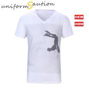 Custom sublimation printing cotton v neck t shirt for Nikon