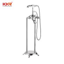 bathroom fittings faucet Filler Stainless Steel Floor Mount Bathtub Shower Faucet with Handheld Sprayer Brushed Nickel