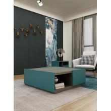 Голубой столик в центре гостиной