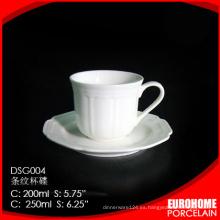 nuevo producto de guangzhou hotel uso super blanco vajilla porcelana tazas con plato