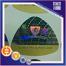 Custom shape anti counterfeit label hologram sticker