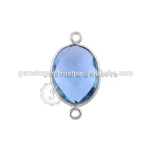 Blaue Quarz Edelstein Silber Lünette Anschlüsse 925 Sterling Silber Lünette Anschlüsse