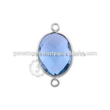 Синий кварц драгоценный камень Безель Серебро 925 стерлингового серебра Разъемы разъемы Безель