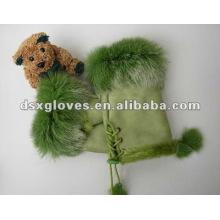 Guantes de cuero verde sin dedo (DSX-F008)