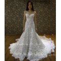 2017 Latest design Alibaba wholesale sweetheart floor-length long train lace appliqued orgenza mermaid wedding dress