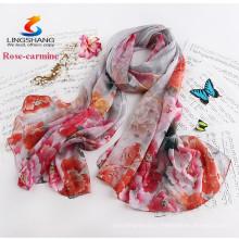 Lingshang feminino cabo longo design de seda de verão fino sunscreen impressão flores lenço de seda