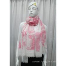 Леди пейзаж напечатано хлопок полиэстер вуаль шарф (YKY1082)