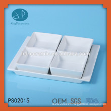 white porcelain square dish set with base,porcelain 4 piece serving set,square ceramic bowl