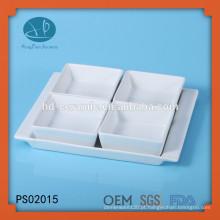 Prato quadrado de porcelana branca com base, porcelana conjunto de 4 peças servindo, tigela de cerâmica quadrada