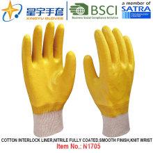 Algodón Interlock Shell Nitrile guantes de trabajo de seguridad recubiertos (N1705)
