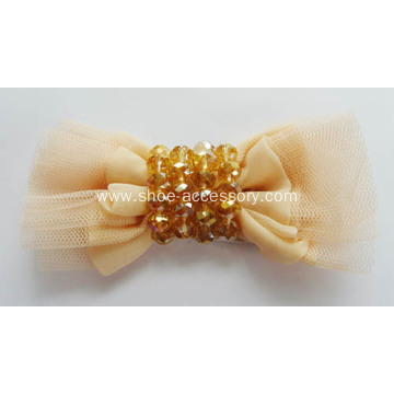 Chiffon Reticulate Bowknot Shoe Flowers with Acrylic Crystal Beads
