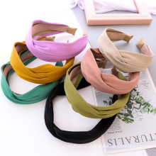 Bandeau cheveux Wholesale Korean Autumn Winter PU Leather Solid Cross Hairband for Women Girl Fashion Headband Hair Accessories