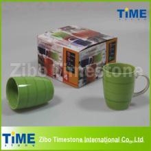 Set of 4 Ceramic Hand Painted Striped Coffee Mug