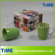Conjunto de 4 tazas de café de cerámica pintadas a rayas