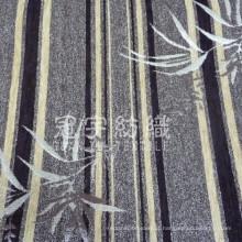 Chenille para tecido de sofá com padrão de faixa e folha