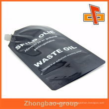 Black full color printing glossy surface plastic oil spout packaging bag