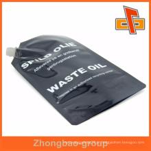 Preto impressão a cores de superfície brilhante plástico óleo bico saco de embalagem