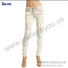 Wholesale Japan Jeans Women Floral Print STRETCH SKINNY JEANS