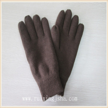 Man plain color knitted winter gloves