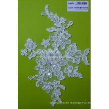 Tecido de renda francês com strass Tecido de renda branca com flores CMC076B