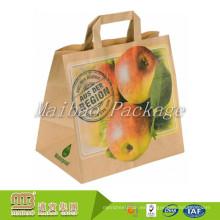 Eco Friendly recicla las manijas planas modificadas para requisitos particulares Kraft llevan las bolsas de papel de empaquetado para el supermercado