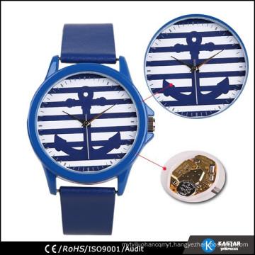 Anchor watch geneva watch genuine leather strap watch
