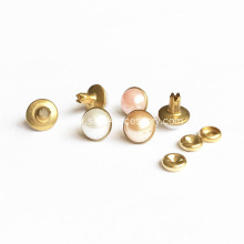 8mm White Pearl Rivets With Gold Backpart