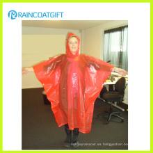 Poncho de lluvia desechable naranja PE para mujer Rpe-161
