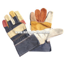 Rainbow Reversed Patched Palm Furniture Leather Work Glove-4011