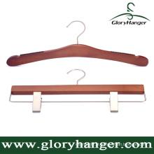 Hanger fabricante Gancho de madeira da cereja do terno para a roupa