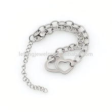 Beautiful 316l covering silver stainless steel bracelet , 1.7mm width chain bracelet with bead charms