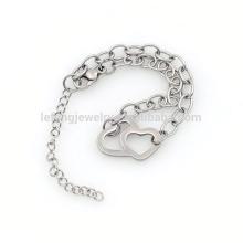 Linda pulseira de aço inoxidável 316l cobrindo prata, pulseira de corrente de 1,7 mm de largura com encantos de grânulo