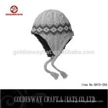 Großhandel grau Streifen Beanie Hut mit benutzerdefinierten Logo und Größe