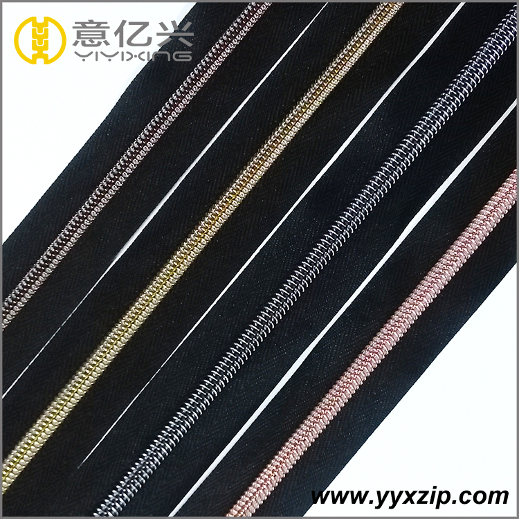 Metal plating color teeth black coil zipper