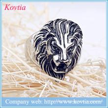 Novo design de titânio aço dedo anelar preto óleo leão cabeça anel homens anel modelo de jóias