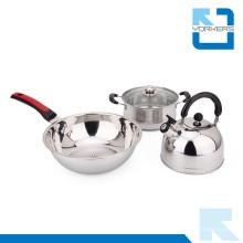 3 peças de utensílios de cozinha de aço inoxidável Set panelas Pot