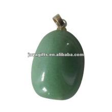 Вид подвески из натурального камня, зеленый авантюрин Повернутый каменный кулон