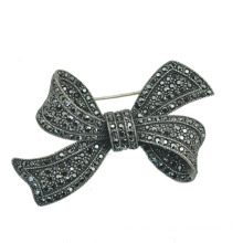 Liga de zinco Rhinestone Antique Silver Bow Broche Jóias