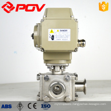 Motorized 3 way sanitary valve clamp ball valve
