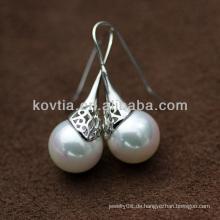 Frauen Favorit Perle Anhänger 925 Silber Ohrring