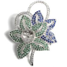 Elegant Flower Metal Silver Platting broche pano decoração