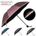 Un seul bon marché à la demande Sun Rain Windproof 3 Folding Small Promotionnel Reflective Glow Umbrella