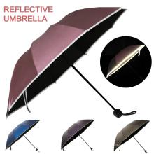 Único barato por encargo de la lluvia de Sun a prueba de viento 3 plegable pequeño paraguas reflexivo promocional de resplandor