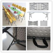 8 футов Открытый крытый пикник Кемпинг Свадебный банкет Столовая Кейтеринг Складные по полу Стол / Плунжер Пленка HDPE Пластиковые Rectangle Table (HQ-Z240)