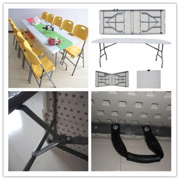 8ft Outdoor Indoor Picnic Camping Wedding Banquet Dining Catering Folding in Half Table/Blow Mold HDPE Plastic Rectangle Table (HQ-Z240)