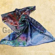 100% шелк моды цифровой печати шелковой шалью